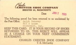 Brockton Massachusetts~Charles Chester Shoe Company~LE Butts Rejects Shoes~1953
