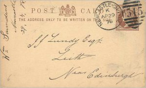 Entier Postal Stationery 1 / 2p Newcastle in 1879 for Leith