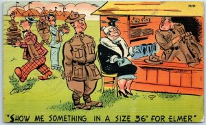 1942 WWII Military Linen Postcard Show Me Something in a Size 36 for Elmer