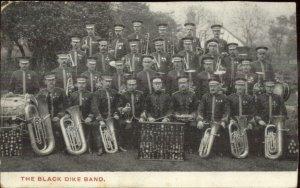 British Military? Music Band BLACK DIKE DYKE BAND Brass c1905 Postcard