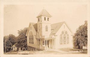 Oakland IA~Christian Church~Man on 30-Foot Ladder~Tower Windows~1915 RPPC