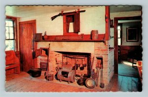 Franklin NH-New Hampshire, Daniel Webster Birthplace, Fireplace, Chrome Postcard