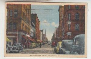 P2243, 1945 postcard busy barrington st. old cars trolly etc halifax nova scotia