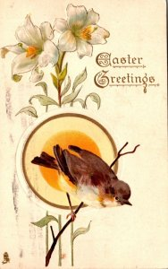 Tucks Easter With Lilies and Bird 1913