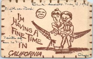 1905 California Postcard I'm Having a Fine Time Couple on Hammock SF Cancel