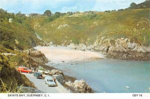 C.I. Guernsey, Saints Bay, cars, south of the Island, popular with sunbathers