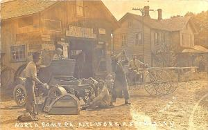 North Rome PA Auto-Work Specialty Wagon Blacksmith Repair Signed Postcard