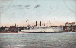 Hudson River Steamboat Adirondack Greetings From Albany New York 1906