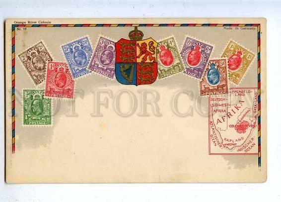 184849 Orange River Colony Coat of arms STAMPS old Postcard