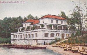 BUFFALO, New York, 1900-10s; Boat House, Park Lake, Glitter detail