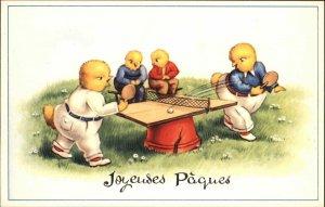 Easter Fantasy Chicks Playing Ping Pong Table Tennis Belgian Postcard