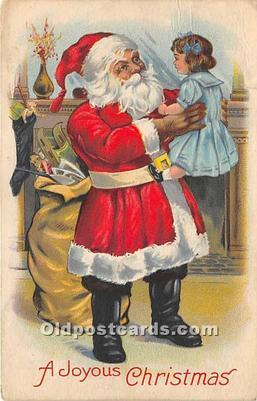 Santa Claus Christmas 1932 Missing Stamp crease top edge from removal of stamp