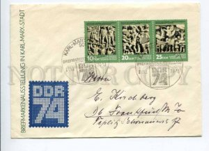 421635 GDR 1974 Karl Marx Stadt philatelic exhibition COVER strip stamps