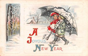 New Years Post Card A Joyous New Year Couple Under Umbrella Postal Used Date ...