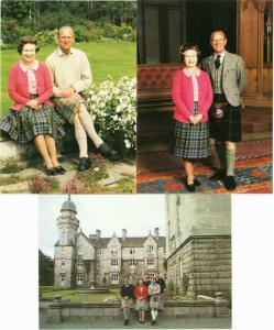 Queen Elizabeth II and Royal Family at Balmoral Castle 1980s Lot of 3 Postcards