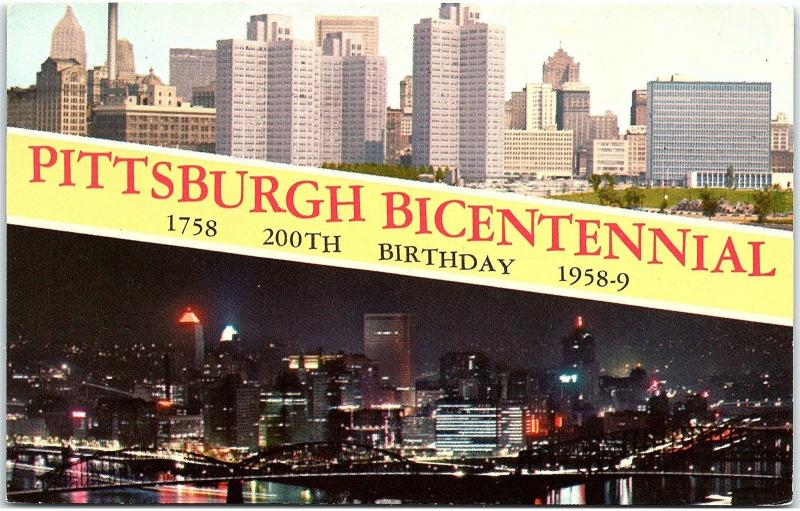 Postcard PA Pittsburgh Bicentennial 1758 - 1958 ~ 200th Birthday J15