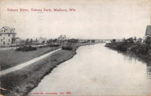 Madison Wisconsin~Yahara Park Homes Along River~Sidewalk Path~1911 Postcard