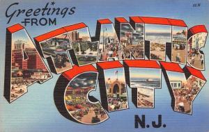 Atlantic City New Jersey~Large Letter Linen Postcard~Boardwalk~1940s Tichnor PC