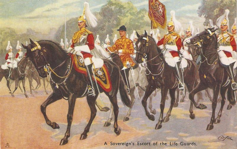 Carfax. Soverign Escort of the Life Guards. Horses Tuck Oilette Military in Lo