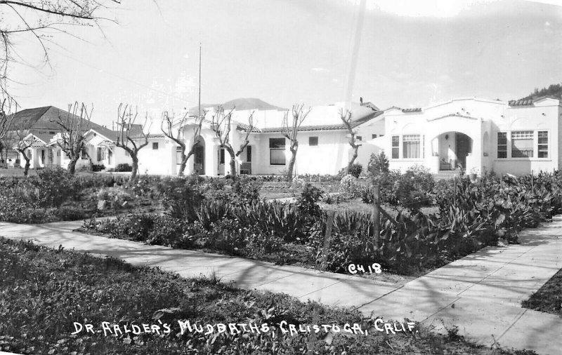 CALISTOGA CALIFORNIA~DR AALDER'S MUD BATHS REAL PHOTO 1943 POSTCARD
