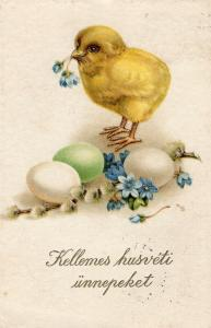 Happy Easter Postcard with Chick and Eggs 01.47