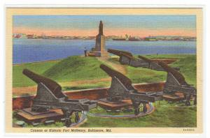 Cannon Artillery Fort McHenry Baltimore Maryland linen postcard