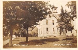 Sand Lake MI Old Home-Like School w/Italianate Bell Tower~Neighbors~RPPC 1913