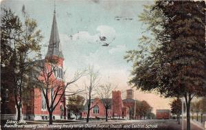 E10/ Sidney Ohio Postcard 1908 Main Street Presbyterian Baptist Church School
