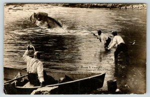 The Bass I Caught in Minneapolis MN~Exaggerated Fish~Boat~1909 WH Martin RPPC