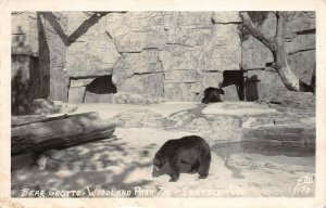 LPS41 Seattle Washington Woodland Park Zoo Bear Grotto Postcard RPPC