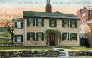 Roxbury MA~Old Monroe House~Oldest House~Fence on Roof~Neighboring Bldg 1910
