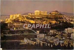 Postcard Modern Athens The Acropolis at night Illumineted