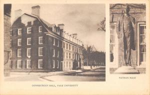 New Haven~Yale University~Connecticut Hall~Nathan Hale Statue~1935 Sepia PC