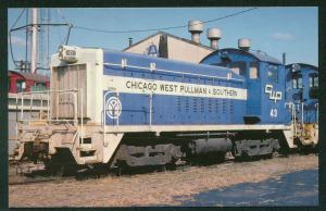 Chicago West Pullman Southern EMD Switcher SW8 # 43 Unit Train Railroad Postcard