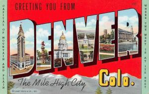 Denver Colorado~Large Letter Linen Postcard~Mile High City~Capitol 1941