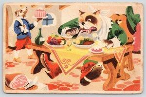 Artist~Dresses Dogs~Eating~Gourmet Monkey~In Dutch~De Smulpaap~Dessert~c1915