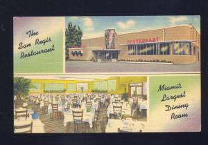 MIAMI FLORIDA SAN REGIS RESTAURANT VINTAGE LINEN ADVERTISING