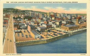 Portland Oregon Air View Public Market Waterfront #732 Andrews Postcard 21-10386