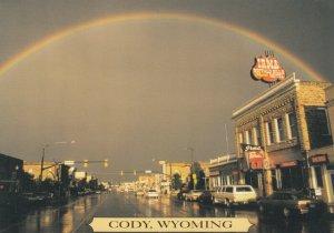 CODY , Wyoming, 1950s; Rainbow over city, Hotel Irma