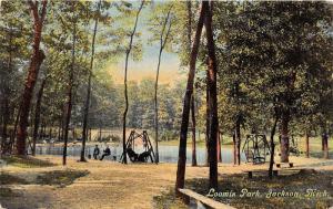 Jackson Michigan~Loomis Park Scene~Swings~Men on Bench by Pond~c1910 Postcard