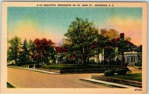 Anderson, North Carolina Postcard Beautiful Residences So. Main Street Linen