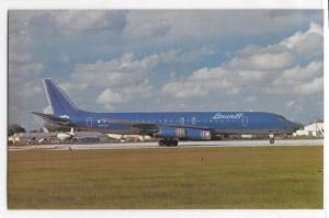 Braniff International Airlines Lt/Dk Blue Red Livery DC-8-62 Ground Postcard