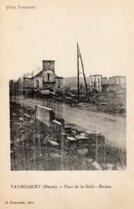 WW1 Vaubecourt meuse place de la halle ruines 01.33