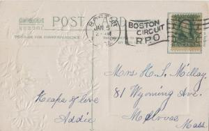 BOSTON MASS CIRCUIT RPO CANCEL - STREET CAR 1909 New Years on front