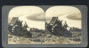REAL PHOTO WWI KOBLENZ GERMANY US ARMY TRACTOR STEREOVIEW CARD VINTAGE