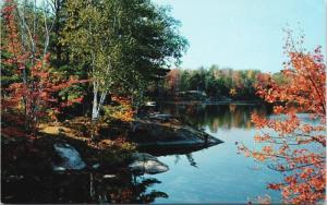 Muskoka Autumn Scene near Bracebridge ON Ontario Vintage Postcard D70