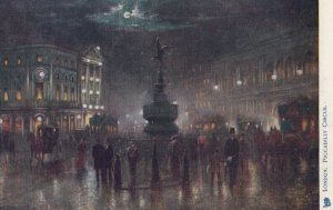 LONDON, England, 1900-1910s ; Piccadilly Circus at Night ; TUCK 770
