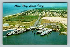 Lewes DE- Delaware, Cape May, Lewes Ferry Boat, Aerial View, Chrome Postcard