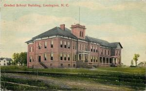 Lexington North Carolina~Dirt Road by Graded School Building~1910 Postcard