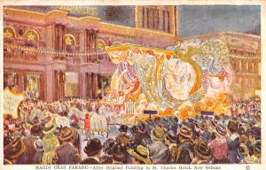 Parade Post Card Mardi Gras Parad Painting St Charles Hotel New Orleans, LA U...